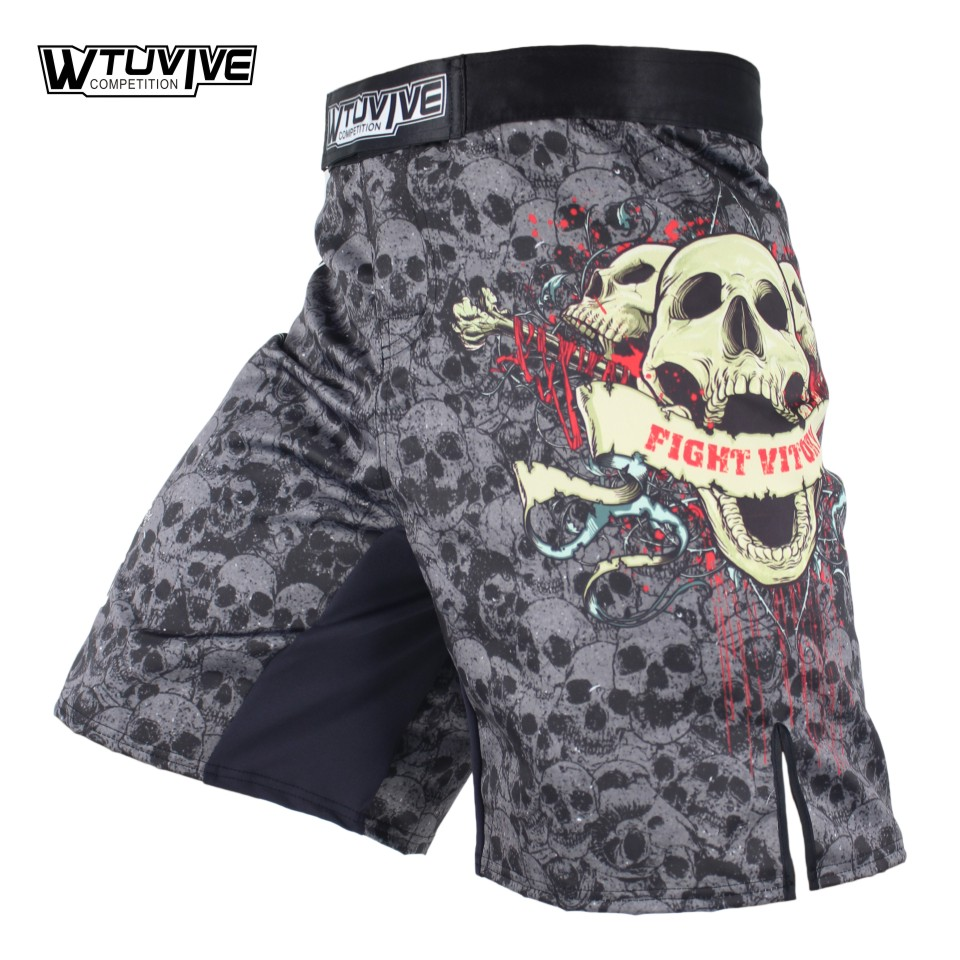 WTUVIVE MMA Boxe Fitness Sports Squat Squelette Personnalité Lutte Shorts Thai Pantalon De Boxe mma fight shorts court mma sanda
