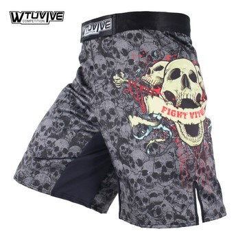 WTUVIVE MMA Boxing Fitness Sports Squat Skeleton Personality Fight Shorts Thai Boxing Pants mma fight shorts short mma sanda