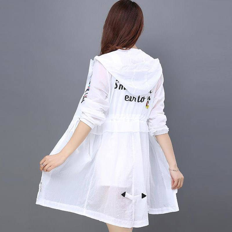 Hooded Women Summer Kimono Cardigan Sun   Blouse     Shirt   Beach Long Chiffon Cover Ups Sunscreen Sunproof Outwear Letters Pattern XXL