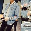 S-5XL Denim Stand Collar Jeans Jacket Men JC46  Bomber Jacket Men Veste Homme Chaquetas Hombre 2016