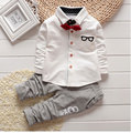 2016 New Fashion Kids Clothes Spring & Autumn Baby Boys Sets Kids Long Sleeve Sports Suits Bow Tie T-shirts + Pants Boys Clothes
