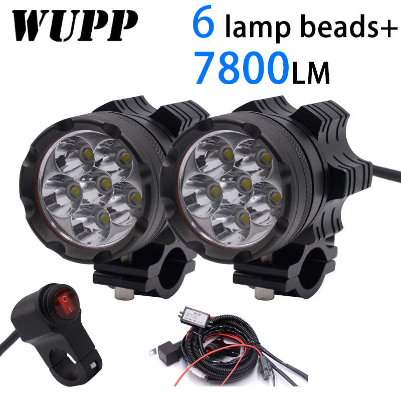 WUPP 2PCS Universal 6 Chips  LED Motorcycle headlights Motos Bulb Motorbike Waterproof Fog Spot 7800LM Spotlight Super bright