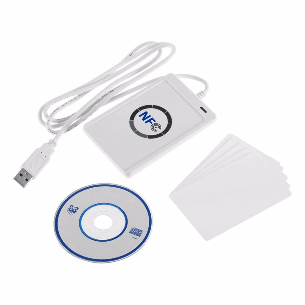 Gravável RFID Smart Card Reader Escritor Copiadora Duplicadora Clone Software USB S50 13.56 mhz ISO/IEC18092 + 5 pcs m1 ACR122U Cartões NFC