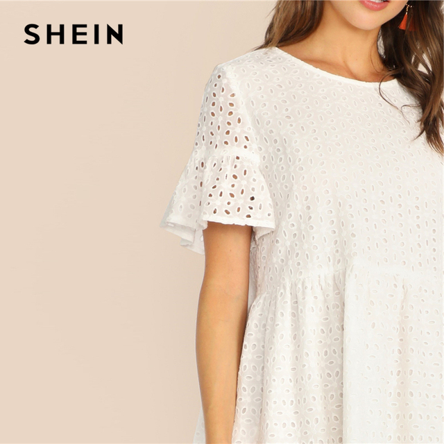 SHEIN Boho White Flounce Short Sleeve Solid Schiffy Straight Summer Lace Dress Women Elegant O-Neck Tunic Shift Cute Dresses 4