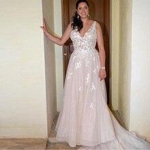 2019 Illusion Appliques A line Wedding Dress Sparkle Tulle V-neck Long Train Bridal Vestido De Noiva Gowns Mariage