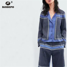 ROHOPO Women Autumn Long Sleeve Blouse Classical Vintage Printed Notched Collar Top Shirt #UK9046