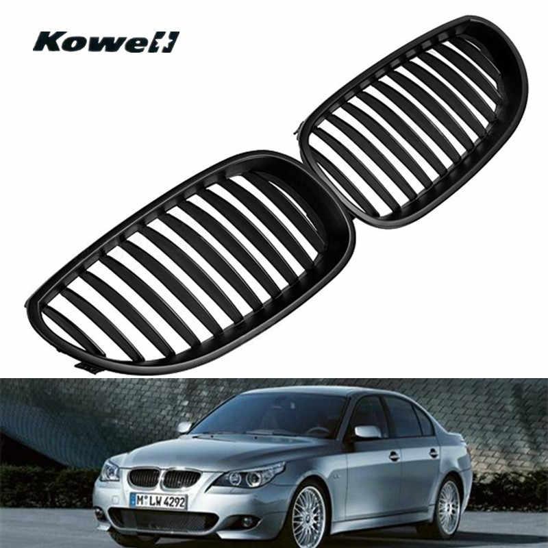 KOWELL 1 Pair Hitam Depan Bumper Grill Pusat Mid Mesh Tengah Grille untuk BMW 5-Series E60 E61 M5 2003-2009 Mobil Auto aksesoris