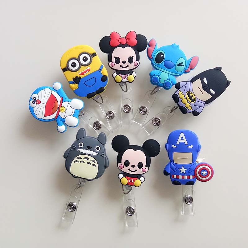 20Pcs Mini Cute Cartoon Retractable Badge Reel The New Student Nurse Exihibiton ID Name Card Badge Holder Office Supplies K027