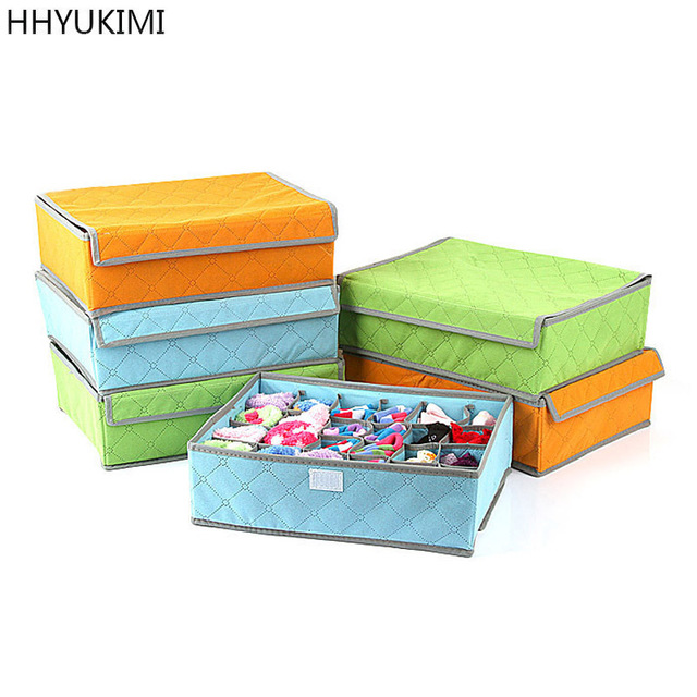 Hhyukimi Brand Bra Organizer Foldable Storage Drawers Underwear Storage Boxes Non Woven Covered Socks Combo