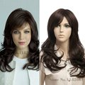 Heat Resistant Japanese Fiber High Quality Wavy Long Brown Wig For African American Women