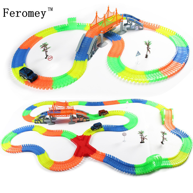 220Pcs Creative Glow Racing Track Set Flexible Tracks Toy Led Car Assembly Educational Luminous Toys Gifts For Children Kids