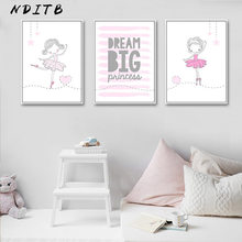 Ballet Dance Girl Baby Nursery Wall Art Canvas Poster and Prints Pink Cartoon Painting Nordic Kids Decoration Picture Room Decor(China)