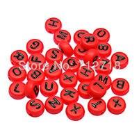 فضفاض الأبجدية الخرز الصلبة الأحمر شقة جولة أكريليك الأبجدية الخرز 4x7 ملليمتر حلو رسائل ل diy مجوهرات صنع اكسسوارات