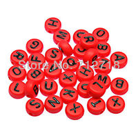 Loose Alphabet Beads Solid Red Flat Round Acrylic Alphabet Beads 4x7mm Assorted Letters For Diy Jewelry Making Accessories