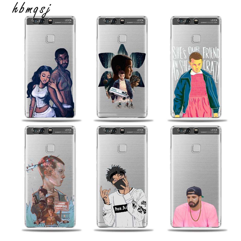 Hot Gel Silicon TV Stranger Things Pattern Character Cartoon for huawi p9 lite p9lite case silicone soft tpu design mobile cover