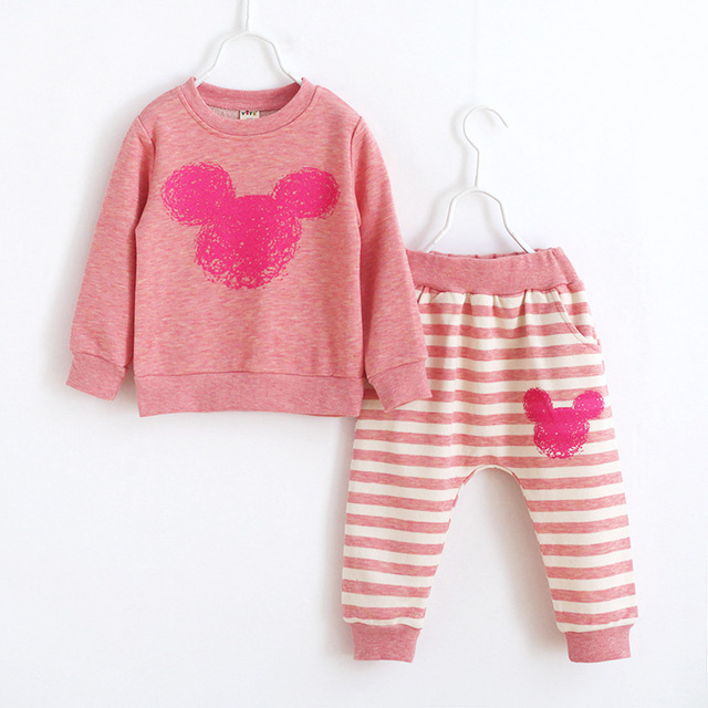 2016 autumn style new Korean cotton children's clothing set boy girls long-sleeved pants 2 pcs suits 2-8 year children clothes