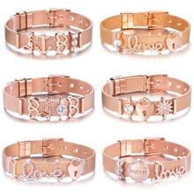 все цены на New Fashion Stainless Steel Trendy Brand Charm Bracelet Mesh Bracelet For Women Heart Crystal Mom Bracelet Party Jewelry Gifts