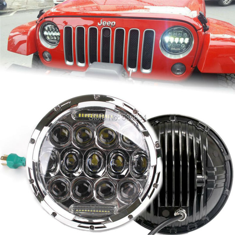 2PCS 75 W Chrome 7 inch Round Projector Daymaker LED Headlight H4 Hi/Low Auto DRL Kit For 2004-2006 Jeep Wrangler LJ Unlimited, social spirits page 5