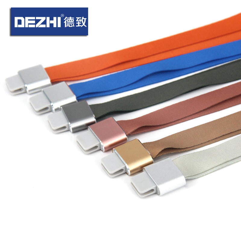 DEZHI New Fashion Exquisite Lanyard With Patented Aluminum Alloy Connector For Badge Holder,  Logo Custom Neck Strap