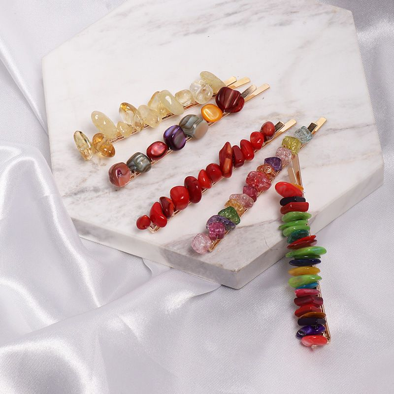1PC Colorful Stone Hairpins Handmade Braided Irregular Resin Beads Hair Clips Hair Accessories for Fashion Women Girls Hair Clips & Pins  - AliExpress