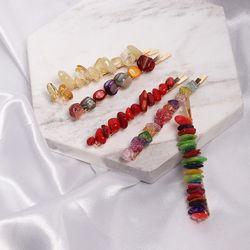 1PC Colorful Stone Hairpins Handmade Braided Irregular Resin Beads Hair Clips Hair Accessories for Fashion Women Girls