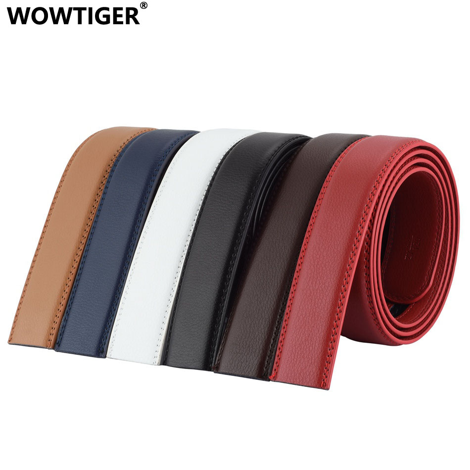 WOWTIGER Fashion Designer 3.5cm Belts Luxury Leather Men Belt Automatic Not have belt buckle ceinture homme cinturones hombre