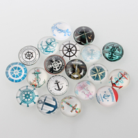 200 100 Pcs Lot 10mm To 40mm Helm Anchor Printed Glass Cabochon Round Flatback Glass Bule