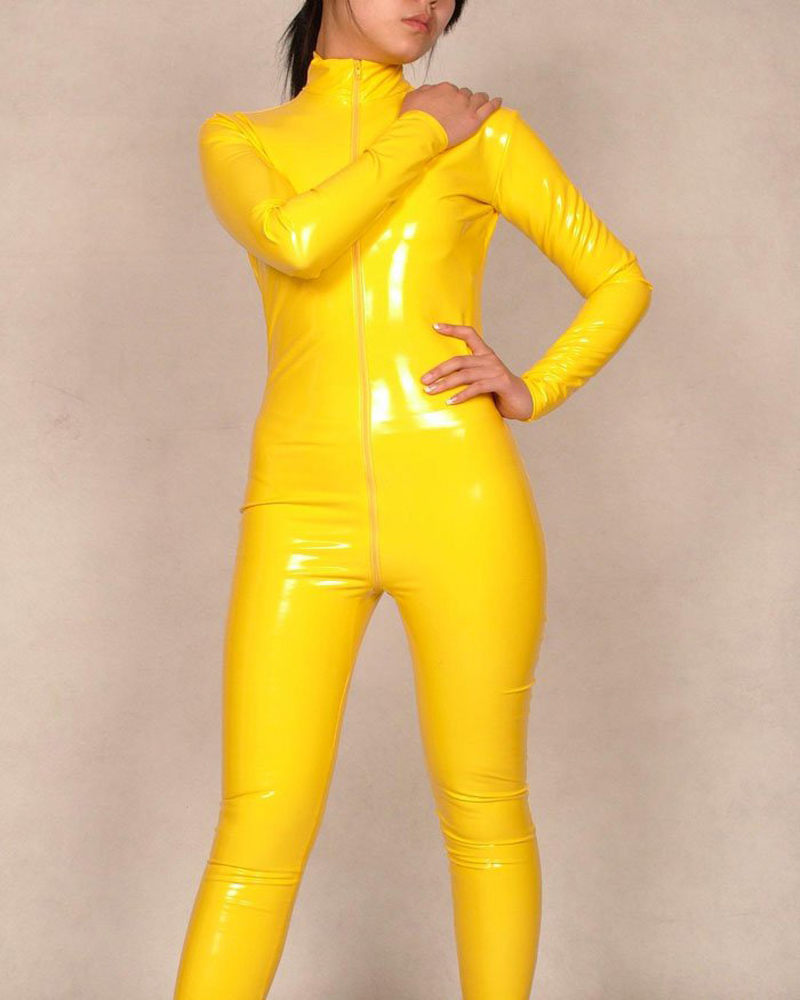 91d290a35c Womens PVC Bodysuit Zentai Suit Yellow Catsuit Costume Fancy Dress S-XXL  B040