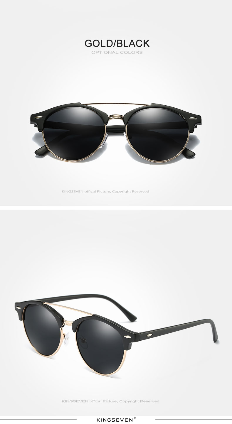 17 KINGSEVEN Retro Rivet Polarized Sunglasses Women Classic Brand Designer Sun glasses Eyewear Bridge Frame Oculos Gafas N7346 7