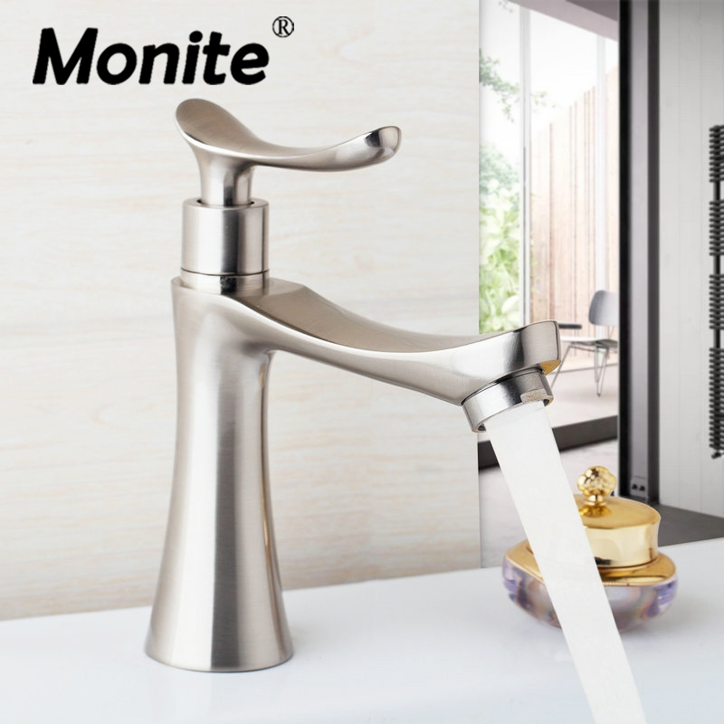 Nickel Brushed Bathroom Basin Sink Faucet Stream Spout Cold Tap Bathroom Sink Taps Deck Mounted Single Handle Faucet Tap stainless steel deck mounted single cold nickel brushed sink faucet basin faucet tap mixer