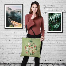 CROWDALE Double-sided Merry Christmas Women Large Linen Shopping bags holiday greet Handbag Shoulder Cloth Pouch 43cm*43cm