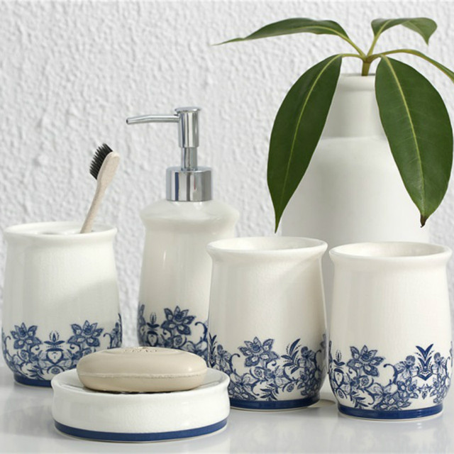 5 Pieces Bathroom Accessories Set Blue And White Porcelain Toothbrush Holder Soap Dish Dispenser Lotion Bottle