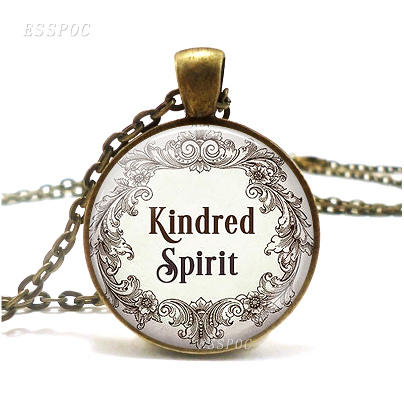Kindred Spirit Anne of Green Gables quote necklace best friend literary quote Retro Style Glass Necklace Pendant