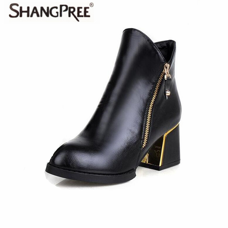 High quality Women Ankle Boots Women Shoes  Pointed Toe Thick Heels Ladies Martin Boots Zipper Boots Comfortable non-slip woman high quality winter autumn ankle boots for woman high heels pointed toe shoes slip on womens short boots black ladies boots