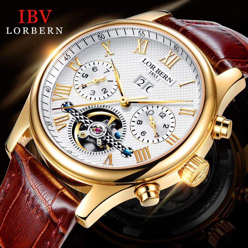 Ibv Hot Sale Men's Watch Automatic Mechanical Watches Fashion 2017 New Leather Waterproof Hollow Men hot sale cayler