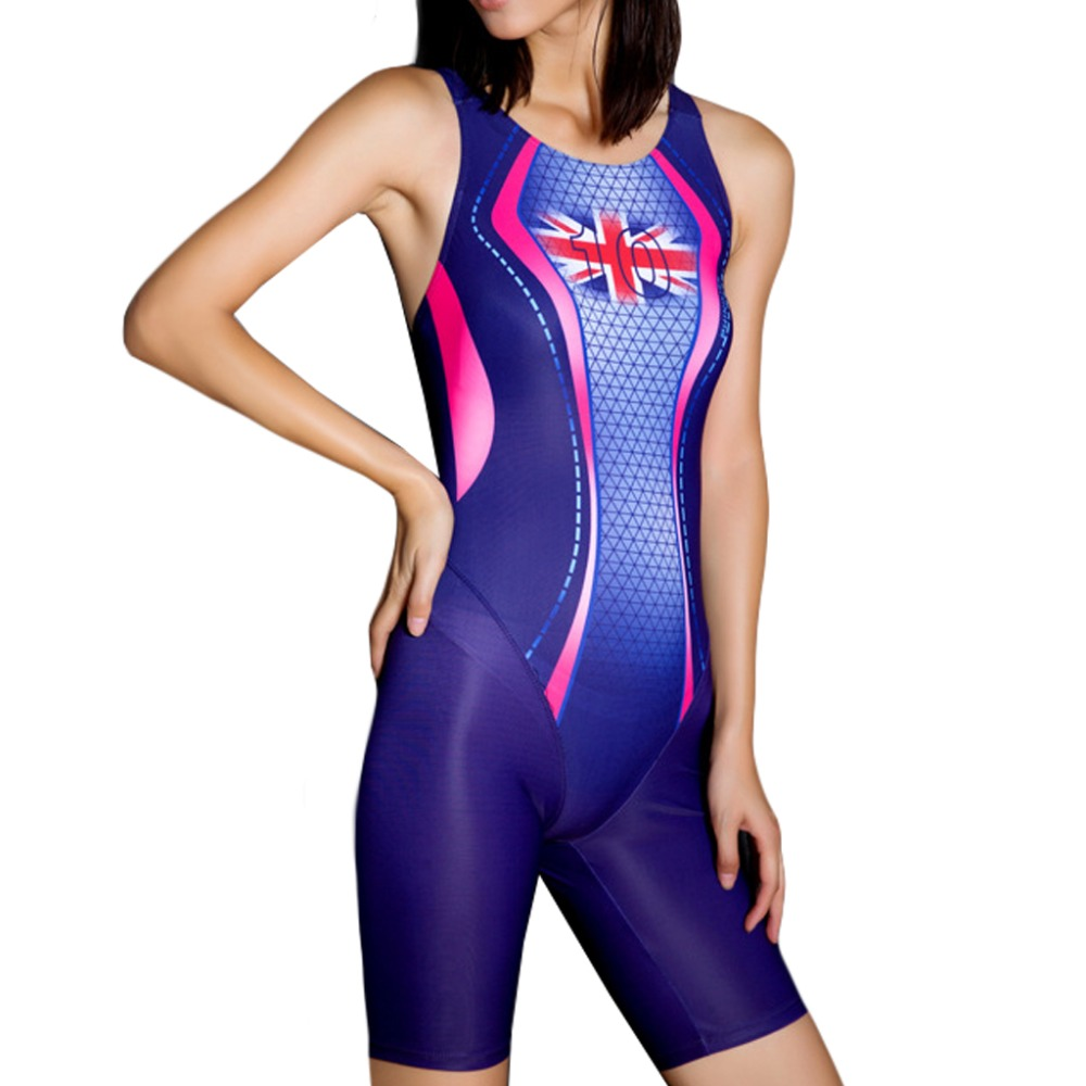 Women Professional Suit UK Flag Printed Knee Full Brief One Piece Swimsuit Slimming Competition Swimwear Sports Swim Racing Suit phinikiss printed racing swimwear large size one piece suit professional swimsuit sport bathing suit competition 2016 triathlon
