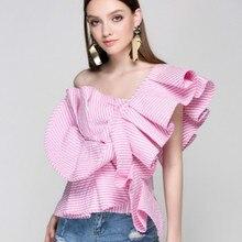 Взлетно-посадочной полосы Блузки пикантные с открытыми плечами Лишенный дизайнер оборками Топы корректирующие Лето г. женственная блузка партия Синий Розовый футболки