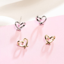 100% Authentic 925 Sterling Silver Irregular Heart Stud Earrings For Women High Quality Simple Refinement  Earings Women Jewelry