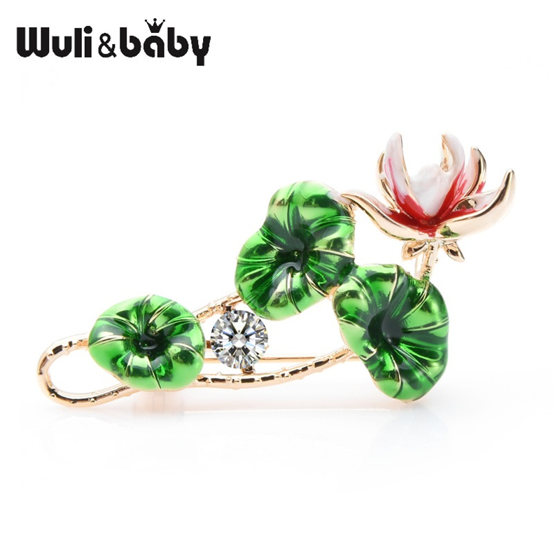 Wuli&baby Green  Leaves Red Lotus Flower Brooches Women Weddings Party Brooch Pins Gifts