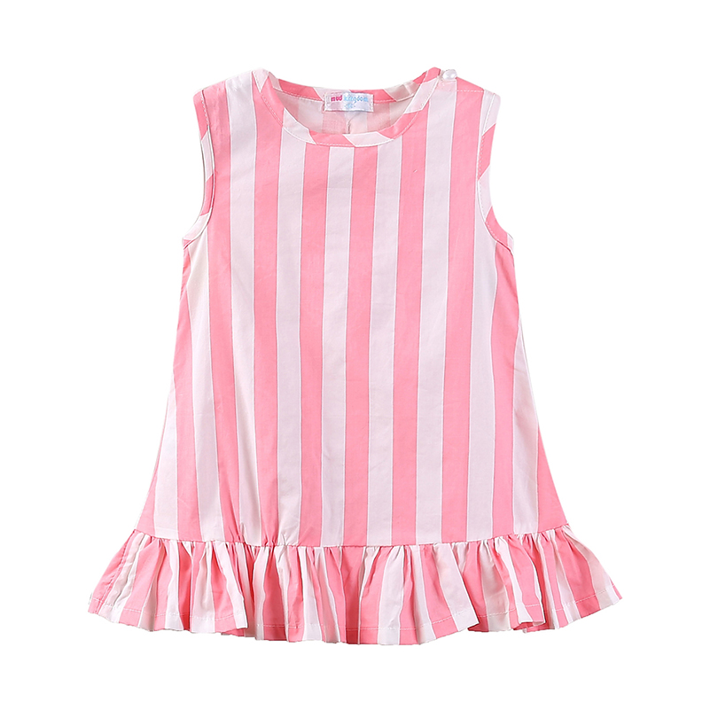 Mudkingdom Toddler Girl Summer Dress O-neck Sleeveless Striped Polka Dot Girls Dresses Ruffles Casual Children Clothing ladybird appliques dress wholesale clothing for girls princess baby boutique o neck clothes children polka dot dresses 6pcs lot