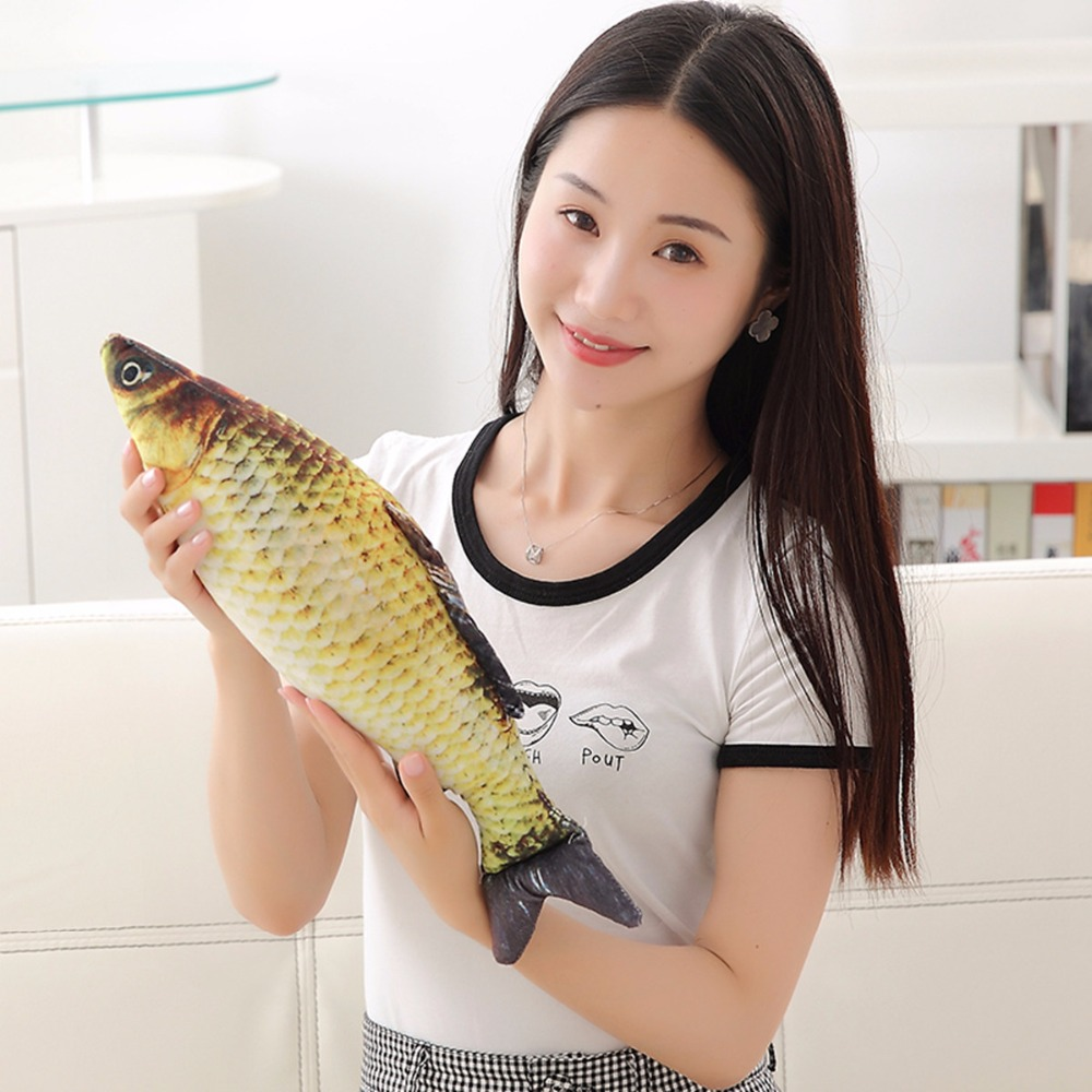 plush font b toys b font Simulation fish soft Crucian carp stuffed animals dolls cartoon Golden