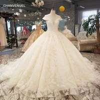 LS32100 big puffy skirt ball wedding dress o neck cap sleeves 3d flowers dress for wedding china online shop quick shiping