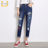 LEIJIJEANS 2018 New Arrival Women Plus Size Jeans Printed Hole Mid Waist Low Elastic Ripped Jeans
