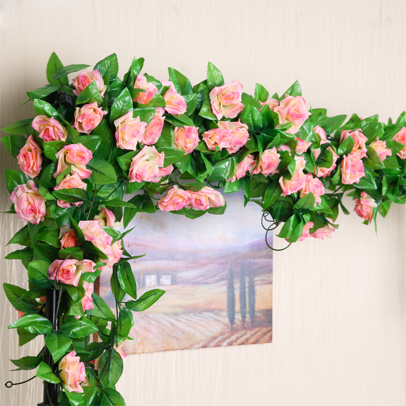 2meter 7color Rose artificial flower fake silk Ivy Vine wedding decorations garden home chair arch stair decor