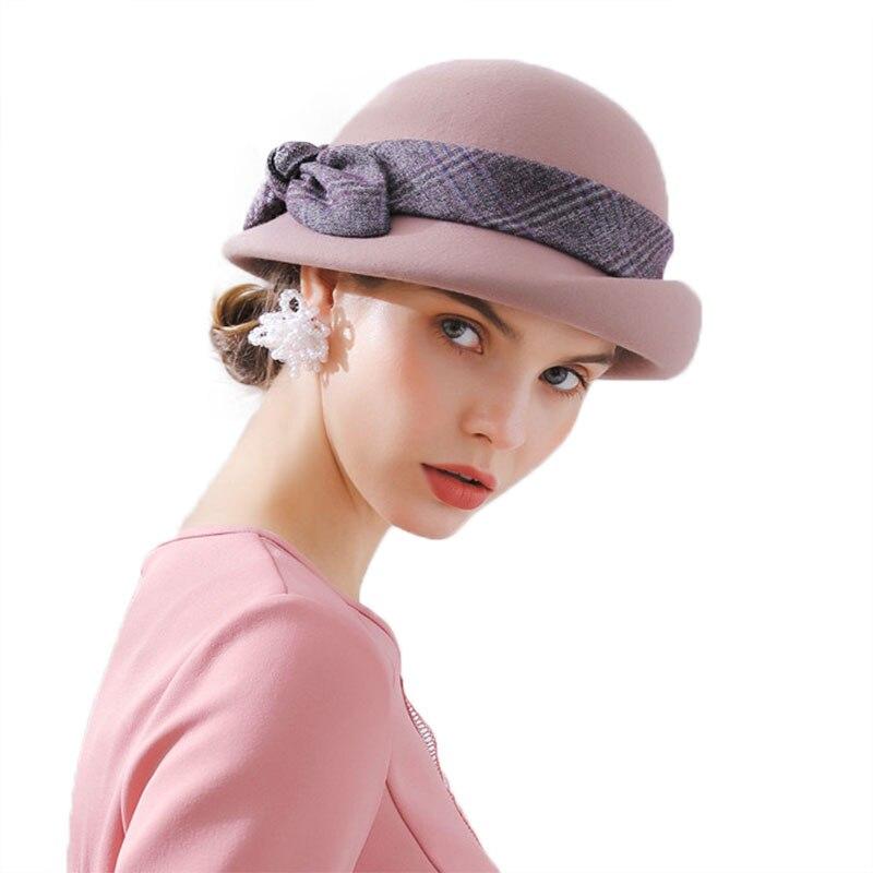 9f0ce1849ea3d ... Elegant Bowknot Ladies Wool Felt Bowler Black Pink Fedora Hats For Women  Wide Brim Vintage Floppy ...