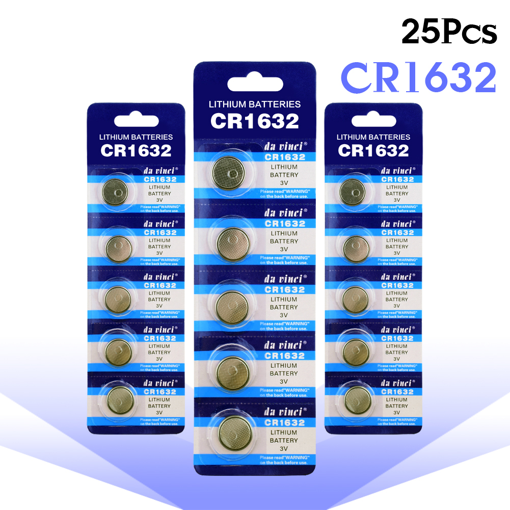 YCDC 25Pcs CR1632 Button Cell Coin Batteries BR1632 ECR1632 DL1632 KCR1632 Car Remote Control Electric Alarm 3V Lithium Battery