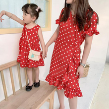 2019 Summer Dresses Family Matching Clothes Red Polka Dots Sashes Mother and Daughter Boho Dress Cute Girls Mommy Vestidos Gifts