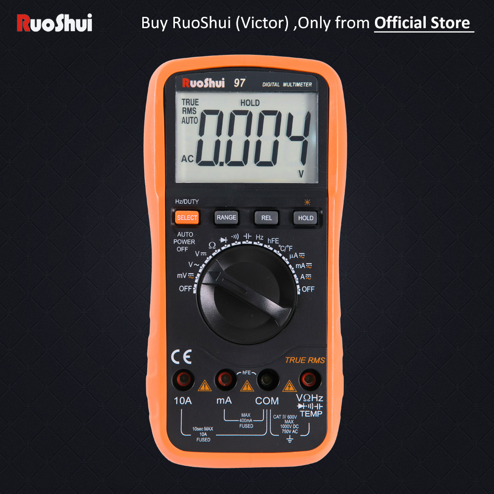 Victor 97 RuoShui 4000 Counsts Auto Faixa de Multímetro Digital True RMS Resistência Capacitância Frequência Temperatura Multimetro