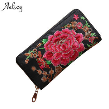 Aelicy Luxury New Flower Embroidered Wallet Purse Handmade Ethnic Flowers Embroidery Fashion Women Long Wallet Phone HandBag embroidery