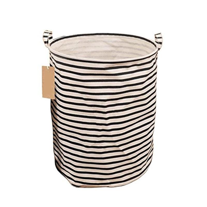 Storage Basket with Handles Foldable Stylish Natural Premium Cotton Linen Round Laundry Bag Toys Storage Clothes Storage
